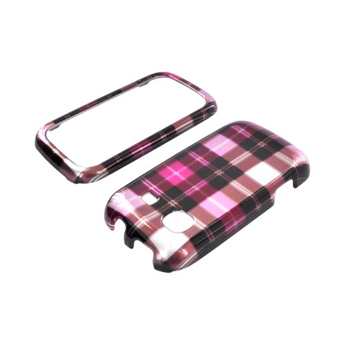 Samsung Trender M380 Hard Case - Plaid Pattern of Pink/ Hot Pink/ Brown/ Gray