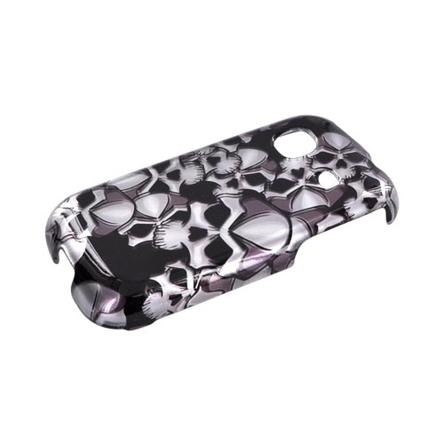 Samsung Trender M380 Hard Case - Silver Skulls on Black