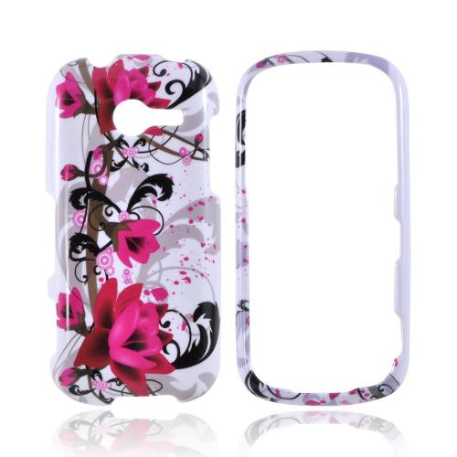 Samsung Array M390 Hard Case - Magenta Flowers & Black Vines on White