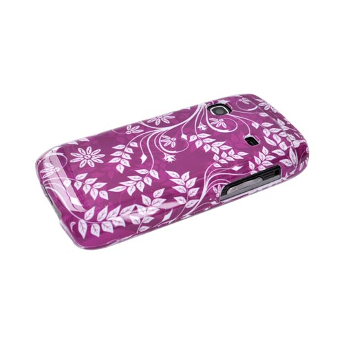 Samsung Replenish M580 Hard Case - White Flowers & Vines on Purple