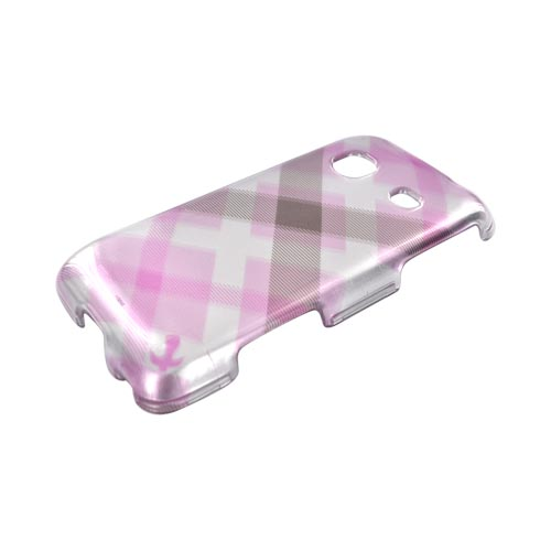 Samsung Galaxy Prevail M820 Hard Case - Baby Pink Plaid on Silver