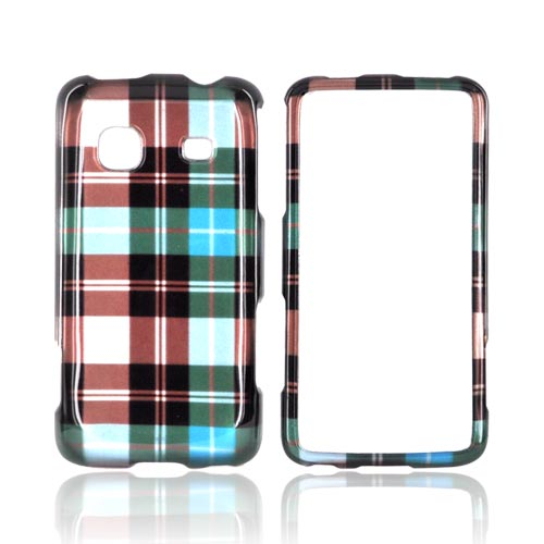 Samsung Galaxy Prevail M820 Hard Case - Plaid Pattern on Blue/ Brown/ Silver