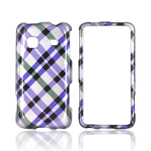 Samsung Galaxy Prevail M820 Hard Case - Purple & Green Plaid on Silver