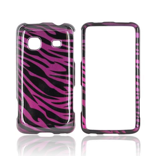 Samsung Galaxy Prevail M820 Hard Case - Purple/ Black Zebra