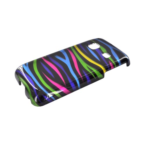 Samsung Prevail M820 Hard Case - Rainbow Zebra on Black