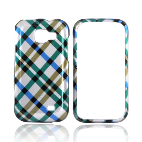 Samsung Transform M920 Hard Case - Checkered Pattern of Blue, Brown, Green on Silver