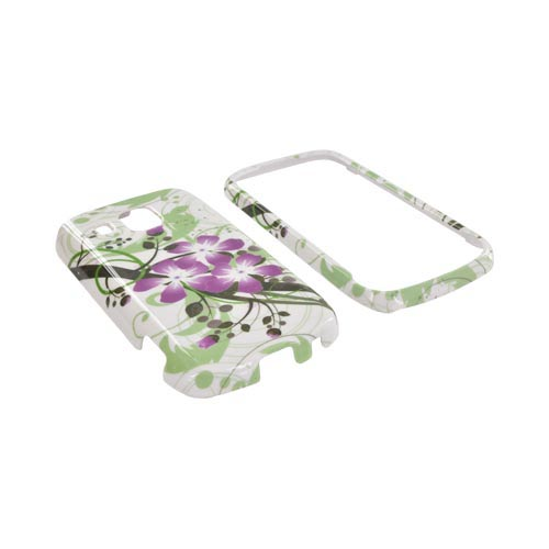 Samsung Transform Ultra M930 Hard Case - Purple Lilly on Green/ White