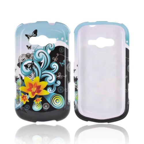 Samsung Galaxy Reverb Hard Case - Yellow Lily w/ Swirls on Turquoise/ Black