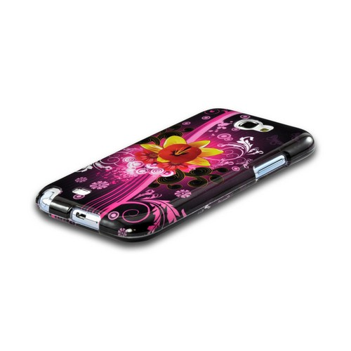 Yellow & Red Dream Flowers on Hot Pink Hard Case for Samsung Galaxy Note 2