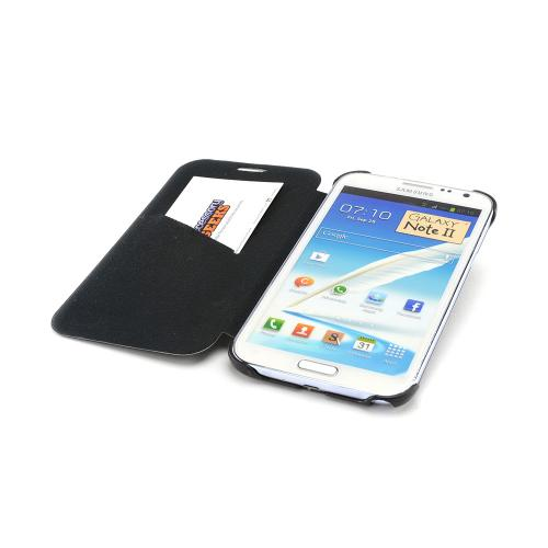 Black Diary Flip Cover Premium Hard Case w/ ID Slot for Samsung Galaxy Note 2