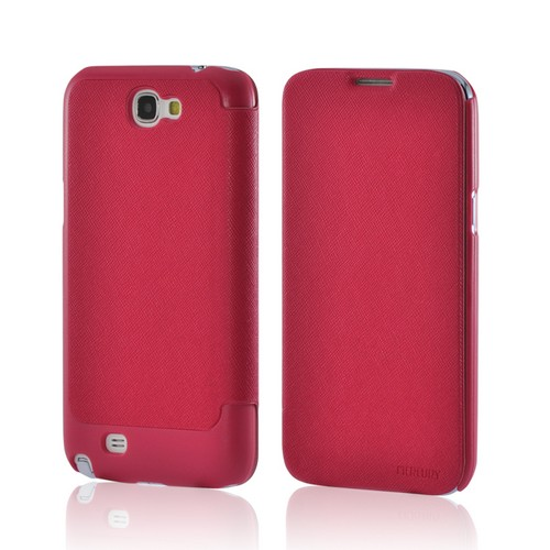 Hot Pink Diary Flip Cover Premium Hard Case w/ ID Slots for Samsung Galaxy Note 2