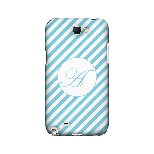 Calligraphy A on Mint Slanted Stripes - Geeks Designer Line Monogram Series Hard Case for Samsung Galaxy Note 2
