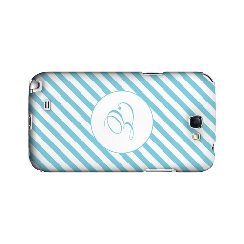 Calligraphy E on Mint Slanted Stripes - Geeks Designer Line Monogram Series Hard Case for Samsung Galaxy Note 2