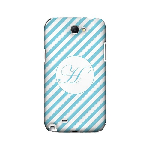 Calligraphy H on Mint Slanted Stripes - Geeks Designer Line Monogram Series Hard Case for Samsung Galaxy Note 2