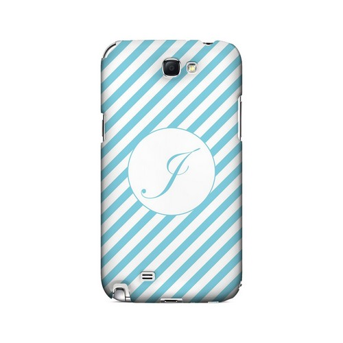 Calligraphy J on Mint Slanted Stripes - Geeks Designer Line Monogram Series Hard Case for Samsung Galaxy Note 2
