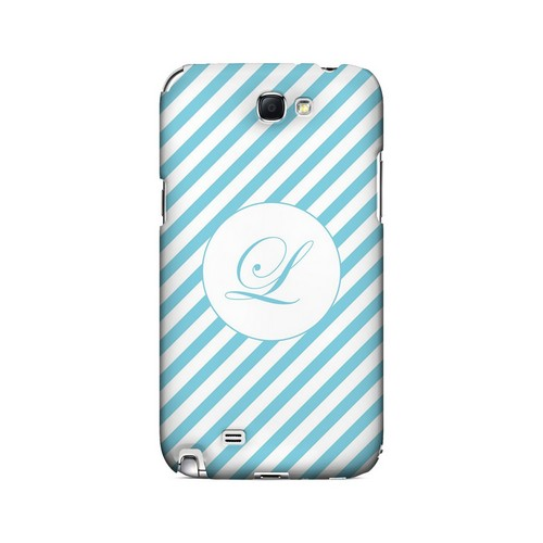 Calligraphy L on Mint Slanted Stripes - Geeks Designer Line Monogram Series Hard Case for Samsung Galaxy Note 2