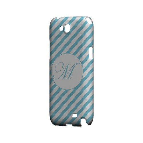 Calligraphy M on Mint Slanted Stripes - Geeks Designer Line Monogram Series Hard Case for Samsung Galaxy Note 2