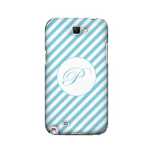 Calligraphy P on Mint Slanted Stripes - Geeks Designer Line Monogram Series Hard Case for Samsung Galaxy Note 2