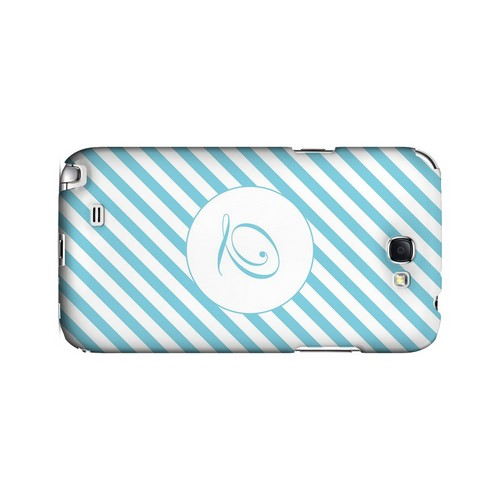 Calligraphy Q on Mint Slanted Stripes - Geeks Designer Line Monogram Series Hard Case for Samsung Galaxy Note 2