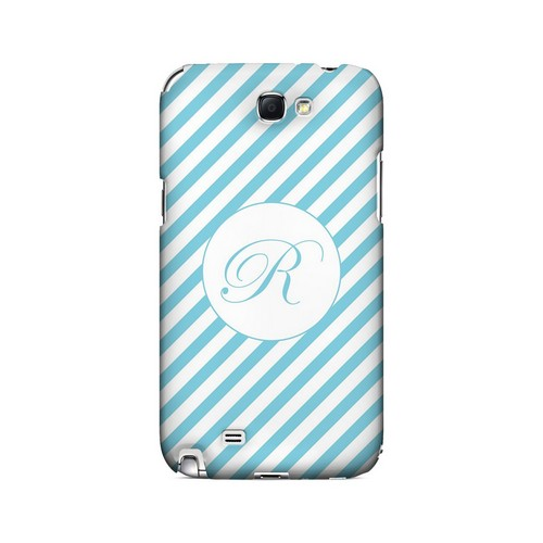 Calligraphy R on Mint Slanted Stripes - Geeks Designer Line Monogram Series Hard Case for Samsung Galaxy Note 2
