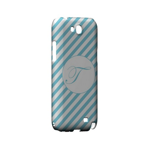 Calligraphy T on Mint Slanted Stripes - Geeks Designer Line Monogram Series Hard Case for Samsung Galaxy Note 2