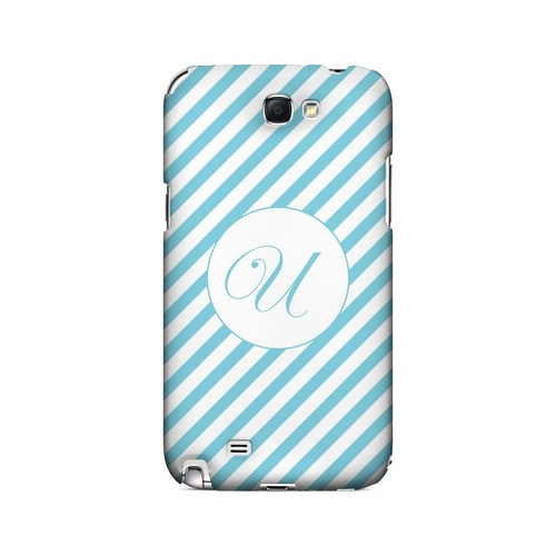 Calligraphy U on Mint Slanted Stripes - Geeks Designer Line Monogram Series Hard Case for Samsung Galaxy Note 2
