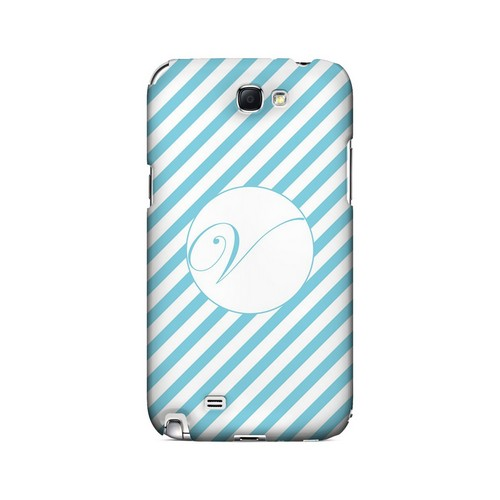 Calligraphy V on Mint Slanted Stripes - Geeks Designer Line Monogram Series Hard Case for Samsung Galaxy Note 2