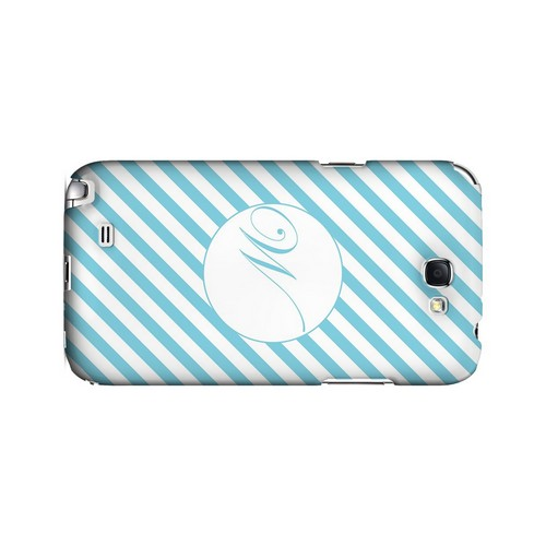 Calligraphy W on Mint Slanted Stripes - Geeks Designer Line Monogram Series Hard Case for Samsung Galaxy Note 2