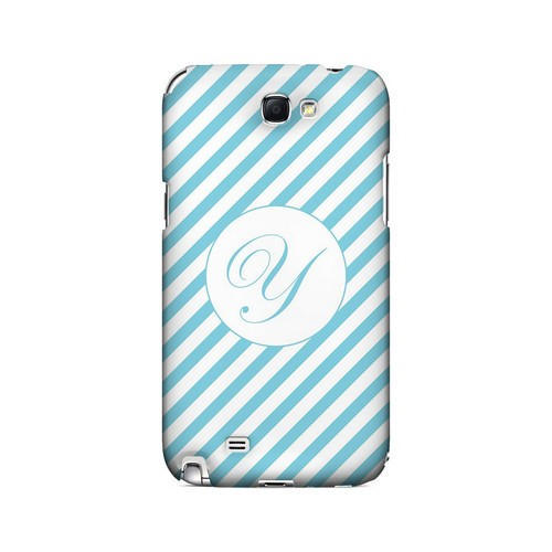 Calligraphy Y on Mint Slanted Stripes - Geeks Designer Line Monogram Series Hard Case for Samsung Galaxy Note 2
