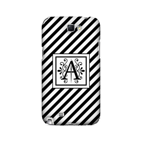 Vintage Vine A On Black Slanted Stripes - Geeks Designer Line Monogram Series Hard Case for Samsung Galaxy Note 2