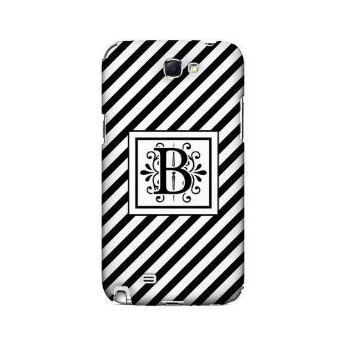 Vintage Vine B On Black Slanted Stripes - Geeks Designer Line Monogram Series Hard Case for Samsung Galaxy Note 2