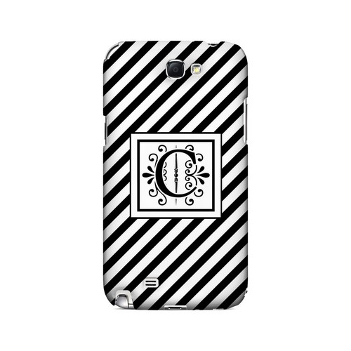 Vintage Vine C On Black Slanted Stripes - Geeks Designer Line Monogram Series Hard Case for Samsung Galaxy Note 2