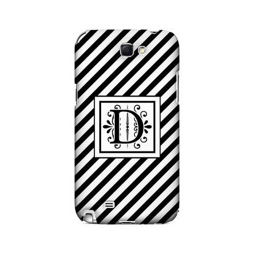 Vintage Vine D On Black Slanted Stripes - Geeks Designer Line Monogram Series Hard Case for Samsung Galaxy Note 2
