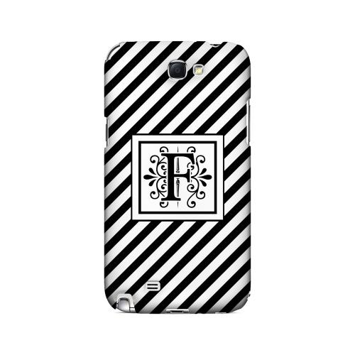 Vintage Vine F On Black Slanted Stripes - Geeks Designer Line Monogram Series Hard Case for Samsung Galaxy Note 2