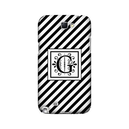 Vintage Vine G On Black Slanted Stripes - Geeks Designer Line Monogram Series Hard Case for Samsung Galaxy Note 2