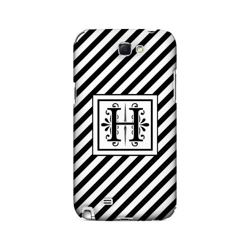Vintage Vine H On Black Slanted Stripes - Geeks Designer Line Monogram Series Hard Case for Samsung Galaxy Note 2