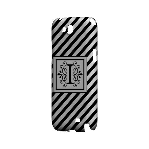 Vintage Vine I On Black Slanted Stripes - Geeks Designer Line Monogram Series Hard Case for Samsung Galaxy Note 2