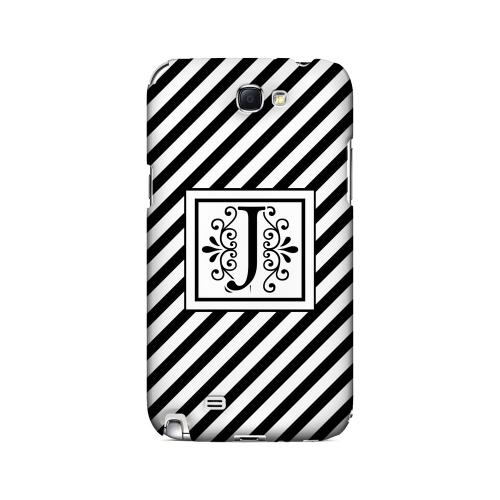 Vintage Vine J On Black Slanted Stripes - Geeks Designer Line Monogram Series Hard Case for Samsung Galaxy Note 2