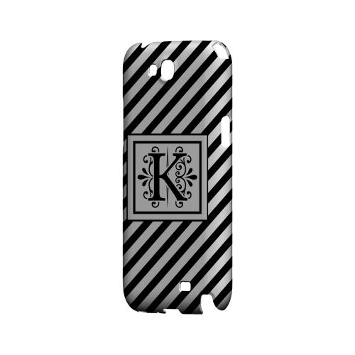 Vintage Vine K On Black Slanted Stripes - Geeks Designer Line Monogram Series Hard Case for Samsung Galaxy Note 2