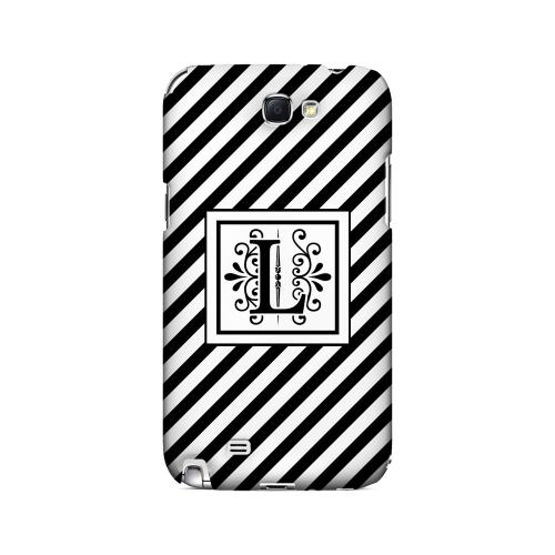 Vintage Vine L On Black Slanted Stripes - Geeks Designer Line Monogram Series Hard Case for Samsung Galaxy Note 2