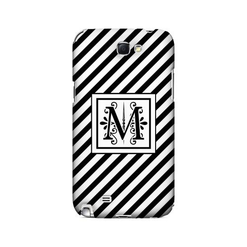 Vintage Vine M On Black Slanted Stripes - Geeks Designer Line Monogram Series Hard Case for Samsung Galaxy Note 2
