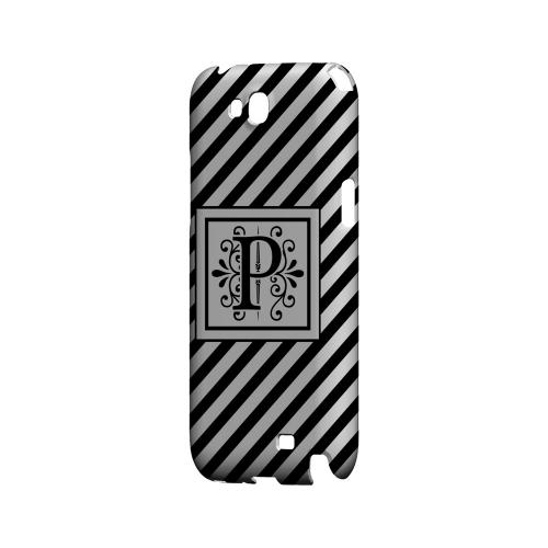 Vintage Vine P On Black Slanted Stripes - Geeks Designer Line Monogram Series Hard Case for Samsung Galaxy Note 2