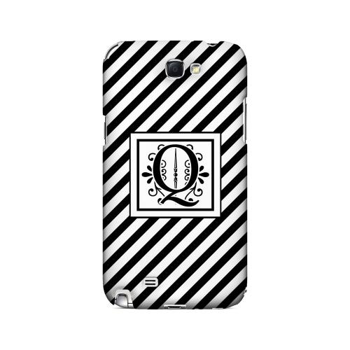 Vintage Vine Q On Black Slanted Stripes - Geeks Designer Line Monogram Series Hard Case for Samsung Galaxy Note 2