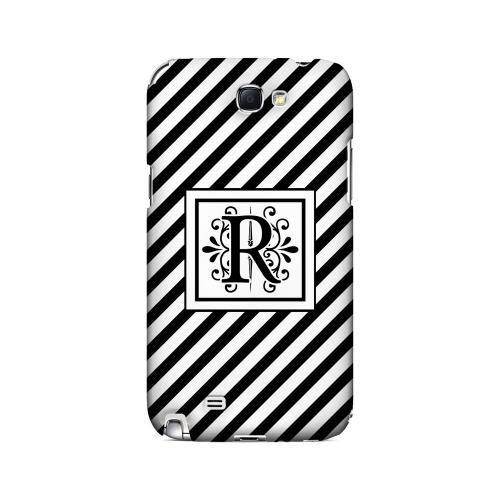 Vintage Vine R On Black Slanted Stripes - Geeks Designer Line Monogram Series Hard Case for Samsung Galaxy Note 2