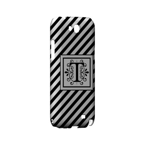 Vintage Vine T On Black Slanted Stripes - Geeks Designer Line Monogram Series Hard Case for Samsung Galaxy Note 2