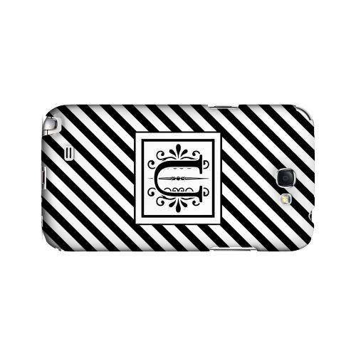 Vintage Vine U On Black Slanted Stripes - Geeks Designer Line Monogram Series Hard Case for Samsung Galaxy Note 2