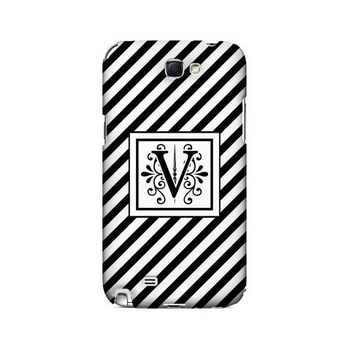 Vintage Vine V On Black Slanted Stripes - Geeks Designer Line Monogram Series Hard Case for Samsung Galaxy Note 2