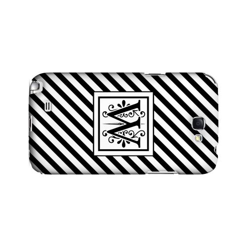 Vintage Vine W On Black Slanted Stripes - Geeks Designer Line Monogram Series Hard Case for Samsung Galaxy Note 2