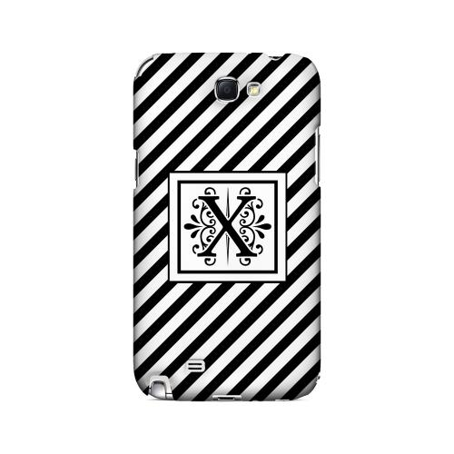 Vintage Vine X On Black Slanted Stripes - Geeks Designer Line Monogram Series Hard Case for Samsung Galaxy Note 2