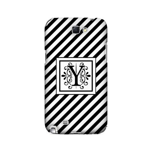 Vintage Vine Y On Black Slanted Stripes - Geeks Designer Line Monogram Series Hard Case for Samsung Galaxy Note 2